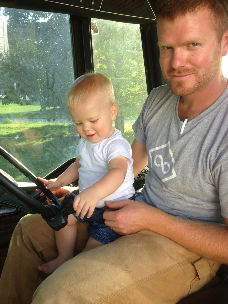 Bryce and Jack in the tractor